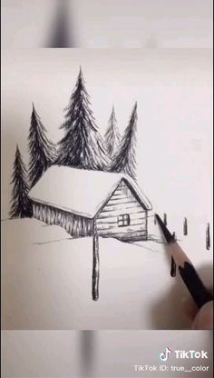 Pencil Sketches Landscape, Art Drawings Sketches Simple, Pencil Art Drawings, Cute Easy Drawings, Art Drawings For Kids, Realistic Drawings, Scenery Drawing Pencil, Mountain Drawing Simple, Forest Drawing Easy