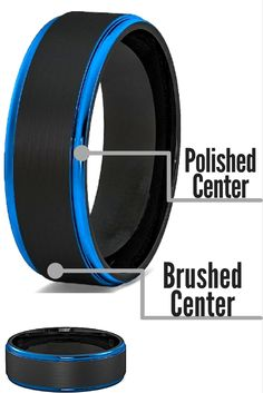 Mens tungsten wedding band with a black brushed center and blue step down edges. I love this mens wedding ring!