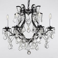 Gallery Versailles Wrought Iron and Crystal 6-light Chandelier