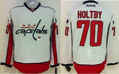 """$34.88 at """"MaryJersey"""" (maryjerseyelway@gmail.com) #70 Braden Holtby, #74 John Carlson - Capitals White Stitched NHL Jersey"""