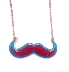 Pink with a Turquoise Outline Moustache Necklace £4.50