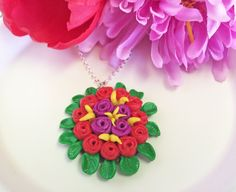Red & Purple Roses on a bed of Green Leaves Necklace