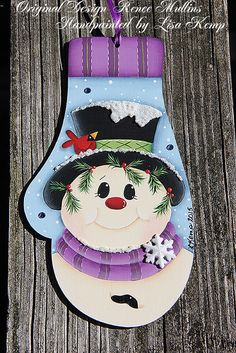 Mitten Snowman Ornament Renee Mullins design by lkemp71 on Etsy