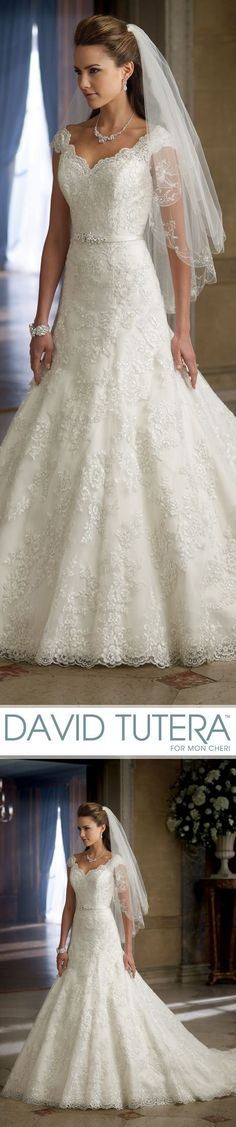 Style No. 213253 ~ Marta, Wedding Dresses 2013 Collection - All over embroidered lace, anza A-line wedding dress with lace cap sleeves and scalloped V-neckline, plunging dramatic scalloped V-back neckline, anza natural waistband adorn