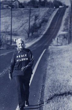 "Peace Pilgrim (July 18, 1908 – July 7, 1981) born Mildred Lisette Norman, was an American pacifist, vegetarian, and peace activist. In 1952, she became the first woman to walk the entire length of the Appalachian Trail in one season.[1] Starting on January 1, 1953, in Pasadena, California, she adopted the name ""Peace Pilgrim"" and walked across the United States for 28 years."