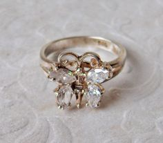 White Topaz MarquiseCut  Sterling Silver by GemstoneCowboy on Etsy, $24.00