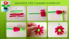 Arts And Crafts Beer Parlor Pipe Cleaner Flowers, Pipe Cleaner Art, Pipe Cleaner Animals, Pipe Cleaners, Diy For Kids, Crafts For Kids, Arts And Crafts, Diy Crafts, Flower Crafts