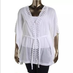 L'Affaire Flowy Sheer Caftan White XL Gorgeous top, NWT. Very flowy with a tie waist trimmed in an intricate crochet material. L'Affaire Tops Tunics