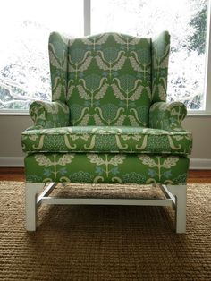 reupholstered wing back in waverly one wish, mint julep