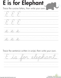 Printables 3rd Grade Handwriting Worksheets animals cursive handwriting and animal alphabet on pinterest third grade worksheets e is for elephant