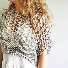 Knitting pattern for the Knotty Crop Top - Festival crop, knit crop top, knitted chunky crop sweater, bikini cover up, summer sweater Love Knitting, Summer Knitting, Knitting Patterns Free, Crochet Summer, Crochet Patterns, Poncho Patterns, Pattern Sewing, Easy Knitting, Poncho Crochet
