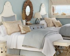 beach house bedroom - light blue & beige
