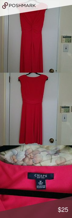 Chaps coral dress This barely worn dress is great for travel. It can be dressed up with accessories  and packs great. Chaps Dresses Midi