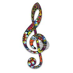 Treble Clef Sticker - Colorful Design Bumper Sticker Laptop Decal Car Decal Laptop Stickers Hippie Boho Music Notes Musician Treble Musical