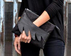 Leather Wing Detail Cross Body Bag / Clutch in by SalmiakStudio