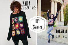 sweter zara, dziergany sweter zara, diy, metamorfoza swetra, recycling, recykling, sweter robiony na szydełku, CROCHETED SWEATER, pullover, sweater, dalwi, blog o szyciu