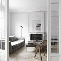 Parisienne style #interiors #architecture #design #schuybroek #beauty #elegance #classy #light #chevron #wooden #floor #parquet #modern #style #paris #minimal #london #refurbishment #extension #chimney #home #luxury