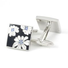 Bravo designer cufflinks with an intricate flower radiating from each cufflink, a set popular with both men and women