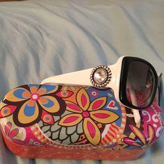 Brighton sun glasses Black with white large crystal with silver Brighton Accessories Sunglasses