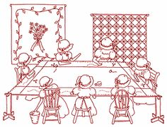 quilting bee, redwork embroidery pattern