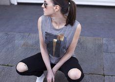 Rivington Grey Rock Chick Top | Urban Gilt Lookbook | Free Wordwide Delivery