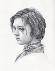 Original pencil drawing portrait of Arya Stark actress Maisie Williams, art gift  for fans of Game of Thrones by KorobovArt on Etsy