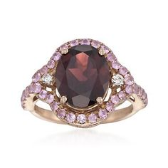 3.75 Carat Garnet and 6.55 ct. t.w. Pink Sapphire Ring With Diamonds in 14kt Rose Gold
