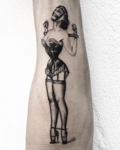 upside down placement so my customer can admire her at all times. That took some concentration! B Tattoo, Pin Up Tattoos, High Heel Tattoos, Eric Stanton, Spanking Art, Nancy Sinatra, Girl Tied Up, Rope Art, French Maid