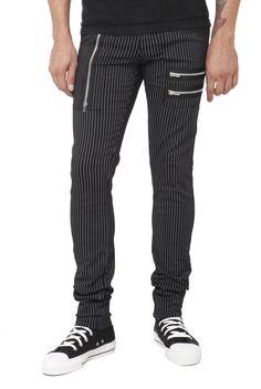 Royal Bones Black And White Pinstripe Zipper Skinny Pants   Hot Topic