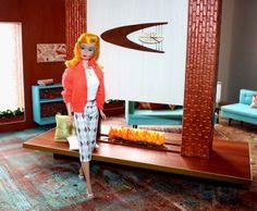 """MCM Dwelling"" – Maryann Roy -Neo-Retro Furnishings & Set Design in scale Handmade Headbands, Handmade Crafts, Handmade Rugs, Barbie Diorama, Mid Century Modern Decor, Barbie Dream House, Handmade Journals, Vintage Barbie Dolls, Barbie Furniture"