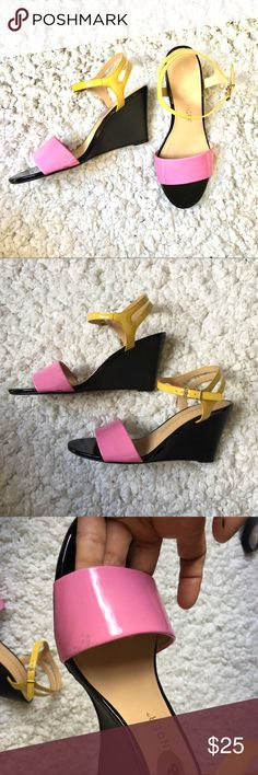 Color Block Wedge Shoes shoes is from athena alexander. color block of pink , black and yellow. really cute, pls dont buy if you have work wide feet. used this once but this is not really not my style. pls see pics for details. Athena Alexander Shoes Wedges