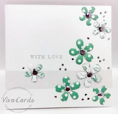 228 - Handmade Card - With Love  #Card Candi, #Flowers, #Silver