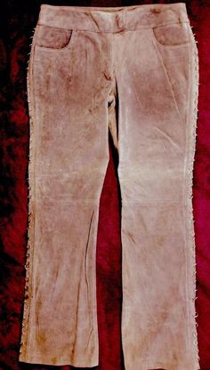 Wilson Maxima Fashionable Lavender Suede Leather Pants with Silver Rings 12 | eBay