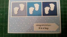 Gemaakt  door Hella Coolen: babykaart jongen.