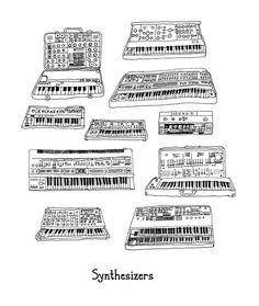 Synthesizer keyboard Illustration by JodiLynnDoodles on Etsy