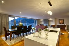 A great use of space, with dining, living and kitchen together. Wonderful views as you dine. Good House, Living Room Designs, New Homes, Dining Table, Interior Design, Inspiration, Furniture, Space, Architecture