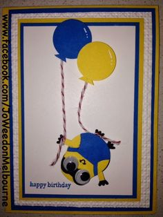 Use your owl punch set in a different way to create this topsy turvey minion! Keep the blue and yellow theme with your cardstock and balloons, or mix it up with your favorite colors. DIY birthday card