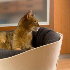 Katzenkörbchen in 6 Filz- und 9 verschiedenen Kissenfarben, maschinenwaschbar. Cat basket in 6 felt and 9 cushion colors, machine washable. Cuccia gatto 6 feltro e 9 colori cuscino, lavabile in lavatrice.