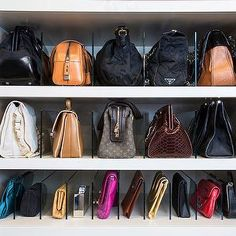 LA Closet Design - closets - how to store bags, how to store handbags, handbag partitions, acrylic partitions, handbag storage, Closet features