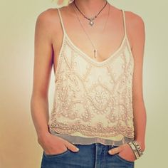Forever 21 vintage style beaded tank top M NWT A stunning peach cami with mesh overlay and and abstract floral design of white beads and sequins, a v-neckline and v-cut back. Adjustable straps, fully lined. Sweet and delicate! From the fall 2015 collection. Forever 21 Tops Tank Tops