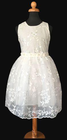 4f2f6ae613cf Παιδικό Φόρεμα σε Σπαστό Λευκό με Σατέν Απλικέ για Παρανυφάκι, Πάρτυ,  Βάπτιση