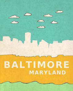 Baltimore Maryland 8x10 / Modern Nursery Decor, City Poster, Irish Map, Typography Print, Giclee, Travel Theme, Digital, Skyline, Loft, Hip. $20.00, via Etsy.