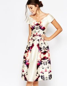 Image 1 of Chi Chi London Plunge Neck Midi Prom Dress In Sateen