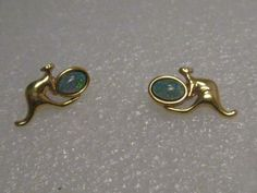 "Vintage Gold Tone  Kangaroo & Faux Opal Pierced Earrings, Australia themed, 2/3"" #Unsigned #piercedstud"