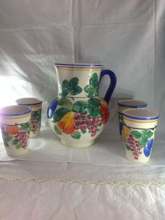 Vintage Czech Peasant Pottery Ditmar Urback Pitcher Fruit Design With 6 Tumblers