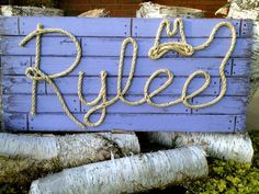 Items similar to Western Rope Name Sign Cowboy Theme Room Nursery- Distressed Light PurpleFinish on Etsy Rope Frame, Cute Baby Names, Colored Rope, Cottage Signs, Western Crafts, Cowboy Theme, Western Parties, Stage Set, Distressed Painting