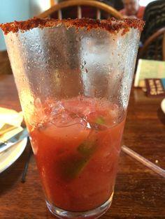 Seasoned salt rimmed Bloody Mary