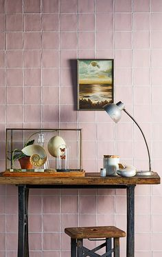 pale pink wall tiles