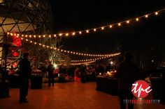 200 Feet of Large Market Style String Lighting together with over 30 LED Fixtures for Uplighting, a custom gobo and a Large Format Video Projection Made this event come to life!