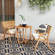 Enjoy lounging on your patio with the 3 Piece Bistro Set. Made with acacia wood, this set is weather resistant and will still look good in the years to come. The Bistro Set is a most have for any patio. Plywood Furniture, Patio Furniture Sets, Furniture Ideas, Furniture Design, Furniture Dolly, Modern Furniture, 3 Piece Bistro Set, 3 Piece Dining Set, Dining Sets